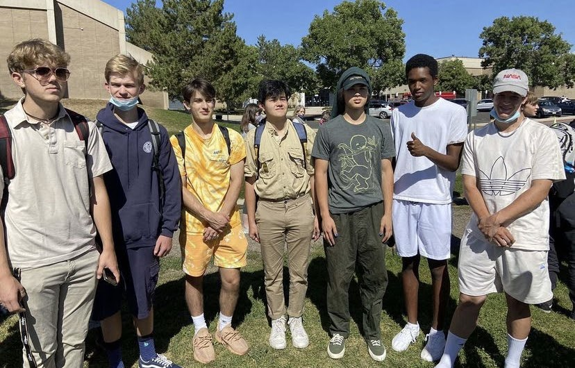 Students dressing up for monochrome/mix and match day